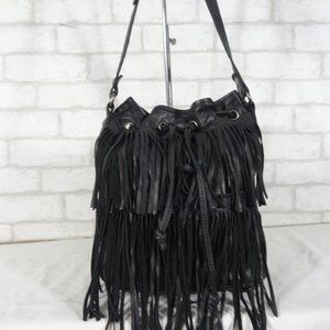 Patricia Nash Leather Bronte Bucket Fringe Bag